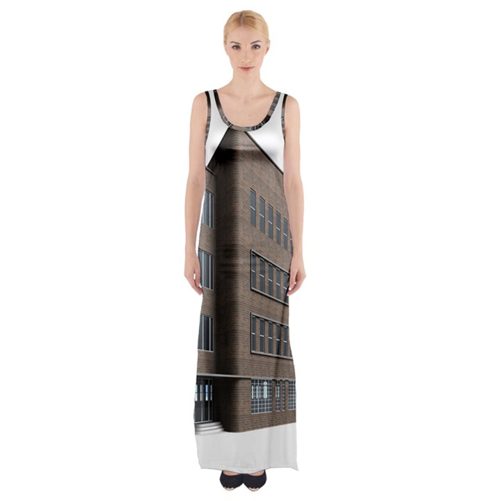 Office Building Villa Rendering Maxi Thigh Split Dress