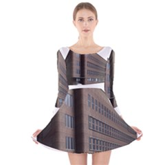 Office Building Villa Rendering Long Sleeve Velvet Skater Dress