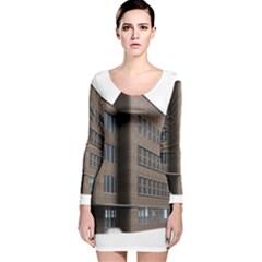 Office Building Villa Rendering Long Sleeve Velvet Bodycon Dress