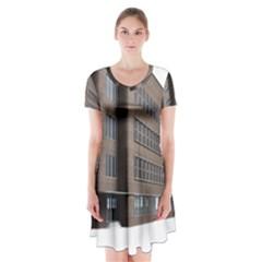 Office Building Villa Rendering Short Sleeve V-neck Flare Dress
