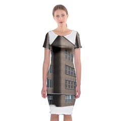 Office Building Villa Rendering Classic Short Sleeve Midi Dress