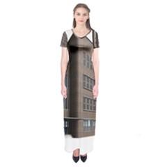 Office Building Villa Rendering Short Sleeve Maxi Dress