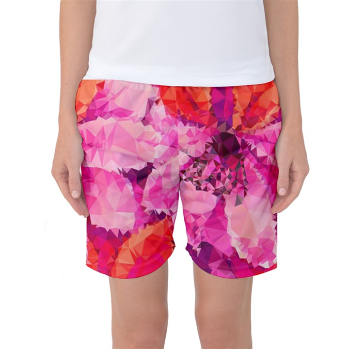 Geometric Magenta Garden Women s Basketball Shorts