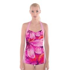 Geometric Magenta Garden Boyleg Halter Swimsuit