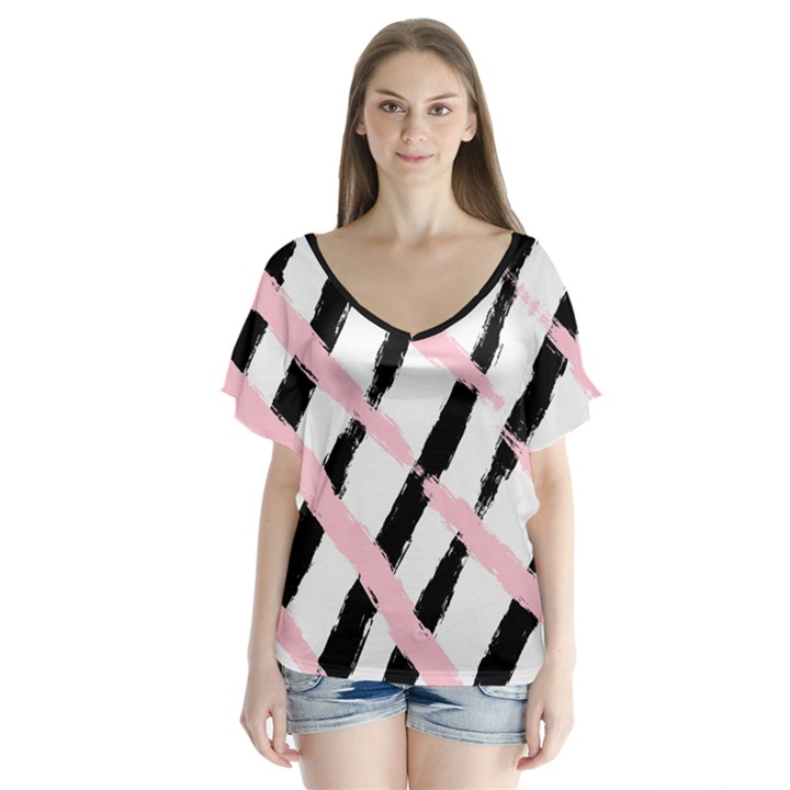 Pink And Black Sketch Checkers V-Neck Flutter Sleeve Top