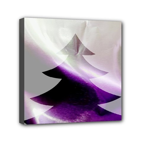 Purple Christmas Tree Mini Canvas 6  X 6