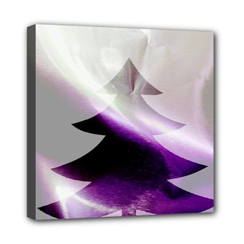 Purple Christmas Tree Mini Canvas 8  x 8