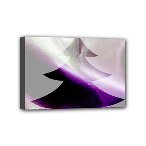 Purple Christmas Tree Mini Canvas 6  X 4