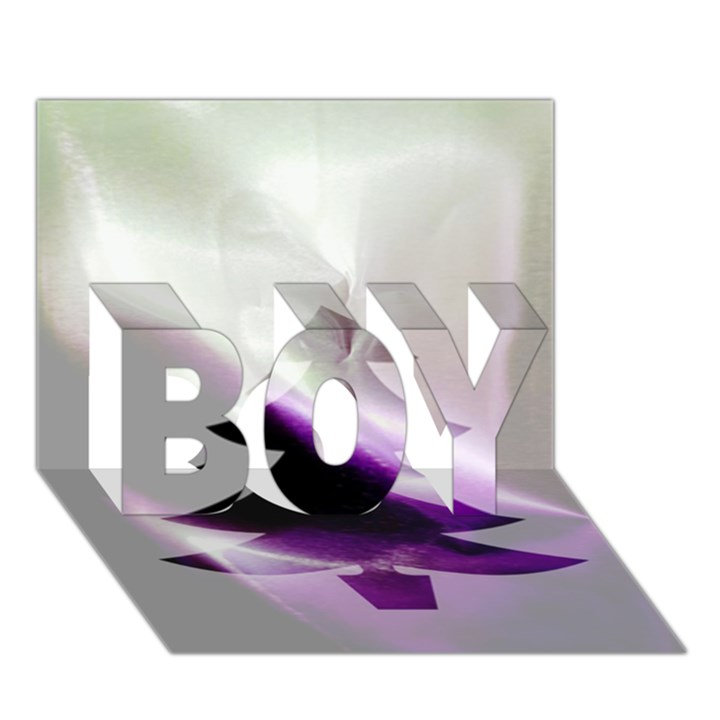 Purple Christmas Tree BOY 3D Greeting Card (7x5)