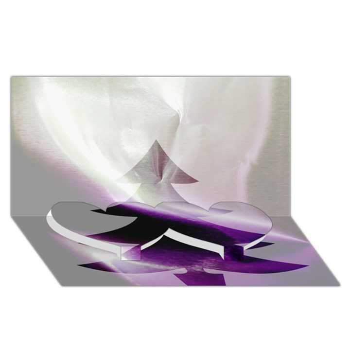 Purple Christmas Tree Twin Heart Bottom 3D Greeting Card (8x4)