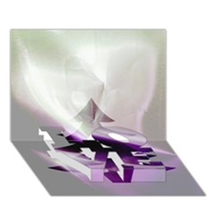 Purple Christmas Tree LOVE Bottom 3D Greeting Card (7x5)