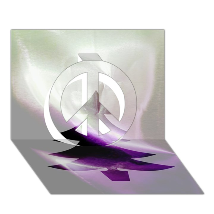 Purple Christmas Tree Peace Sign 3D Greeting Card (7x5)
