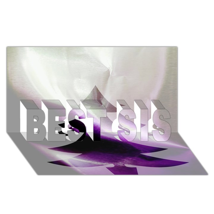 Purple Christmas Tree BEST SIS 3D Greeting Card (8x4)