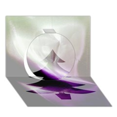 Purple Christmas Tree Circle 3D Greeting Card (7x5)