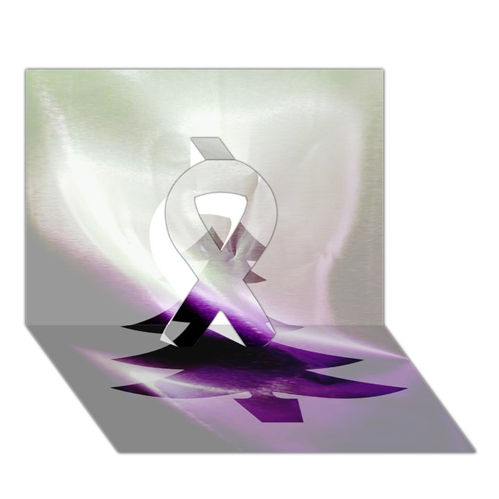 Purple Christmas Tree Ribbon 3D Greeting Card (7x5)