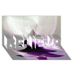 Purple Christmas Tree BELIEVE 3D Greeting Card (8x4)