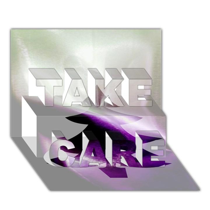 Purple Christmas Tree TAKE CARE 3D Greeting Card (7x5)
