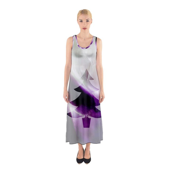 Purple Christmas Tree Sleeveless Maxi Dress