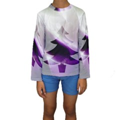 Purple Christmas Tree Kids  Long Sleeve Swimwear