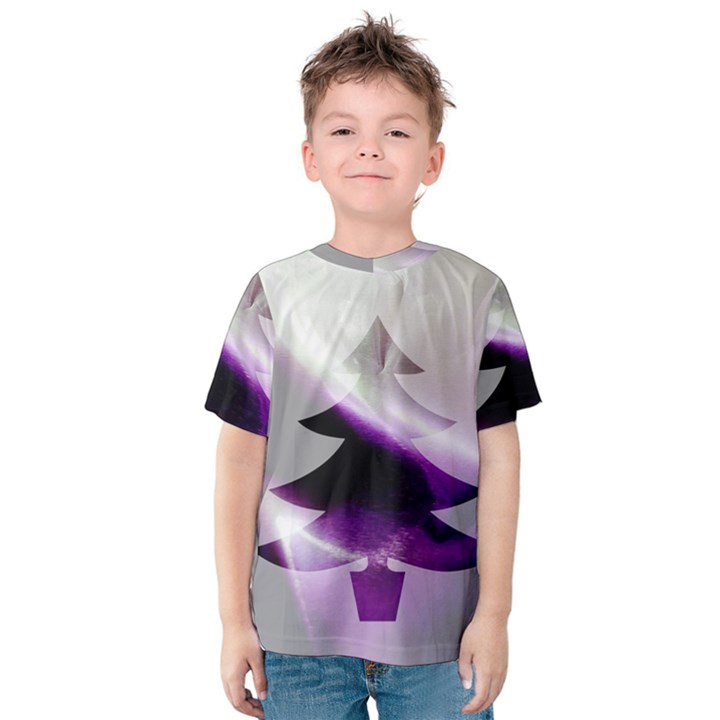 Purple Christmas Tree Kids  Cotton Tee