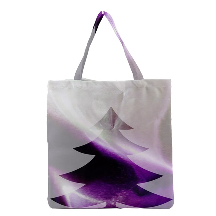 Purple Christmas Tree Grocery Tote Bag