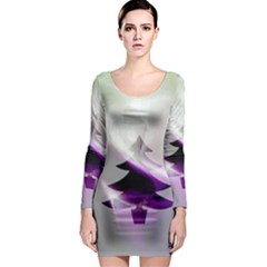 Purple Christmas Tree Long Sleeve Bodycon Dress