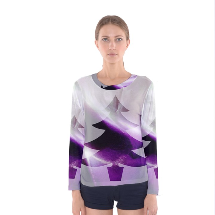 Purple Christmas Tree Women s Long Sleeve Tee