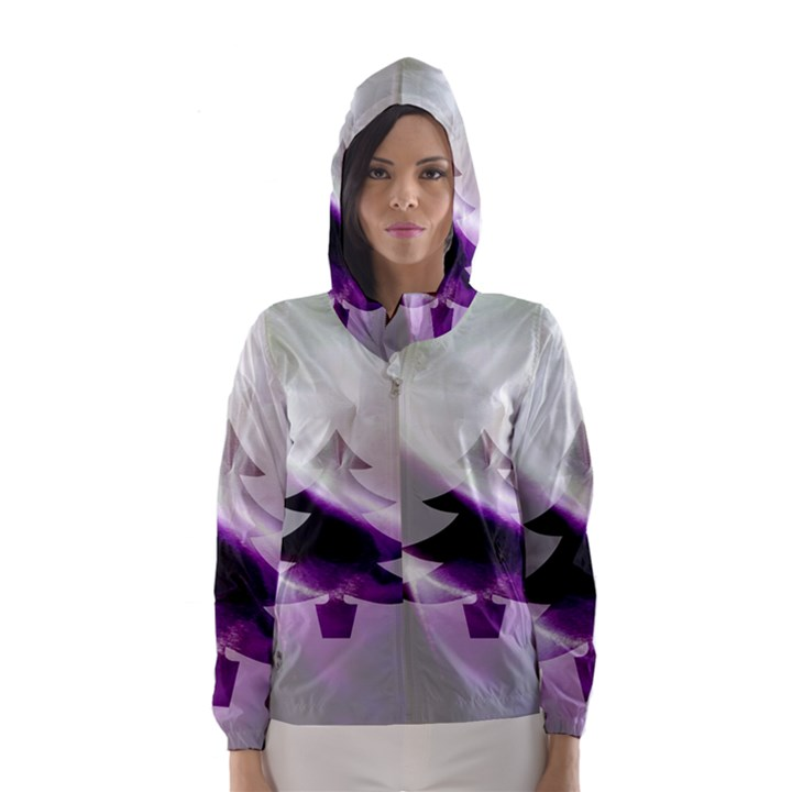 Purple Christmas Tree Hooded Wind Breaker (Women)