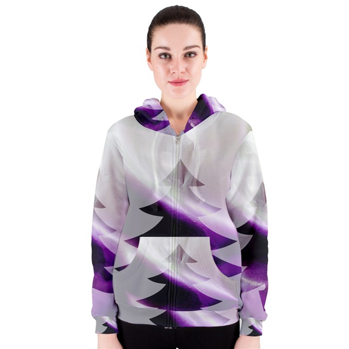 Purple Christmas Tree Women s Zipper Hoodie