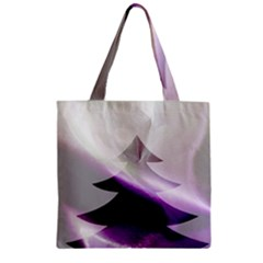 Purple Christmas Tree Zipper Grocery Tote Bag