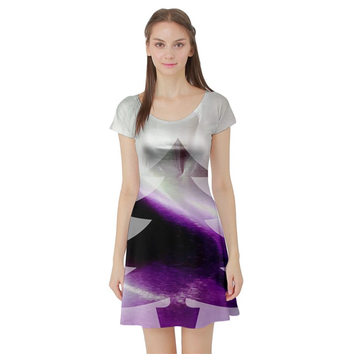 Purple Christmas Tree Short Sleeve Skater Dress