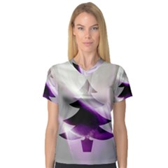 Purple Christmas Tree Women s V-Neck Sport Mesh Tee