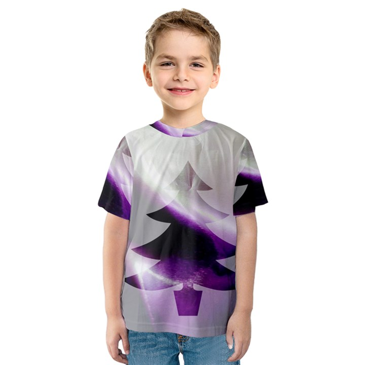 Purple Christmas Tree Kids  Sport Mesh Tee