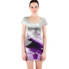 Purple Christmas Tree Short Sleeve Bodycon Dress