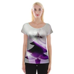 Purple Christmas Tree Women s Cap Sleeve Top