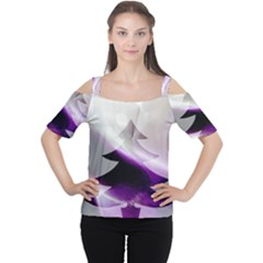 Purple Christmas Tree Women s Cutout Shoulder Tee