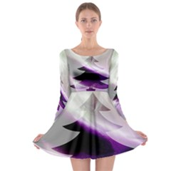 Purple Christmas Tree Long Sleeve Skater Dress