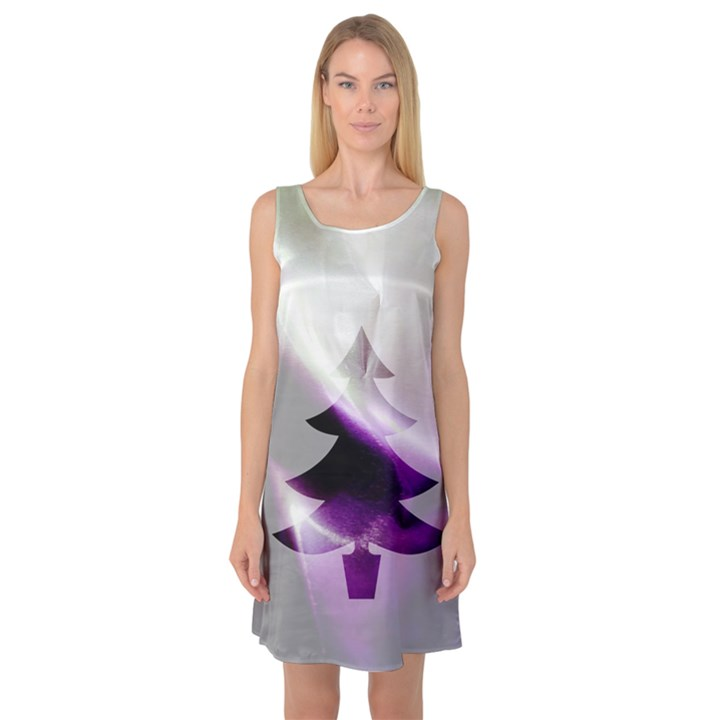 Purple Christmas Tree Sleeveless Satin Nightdress