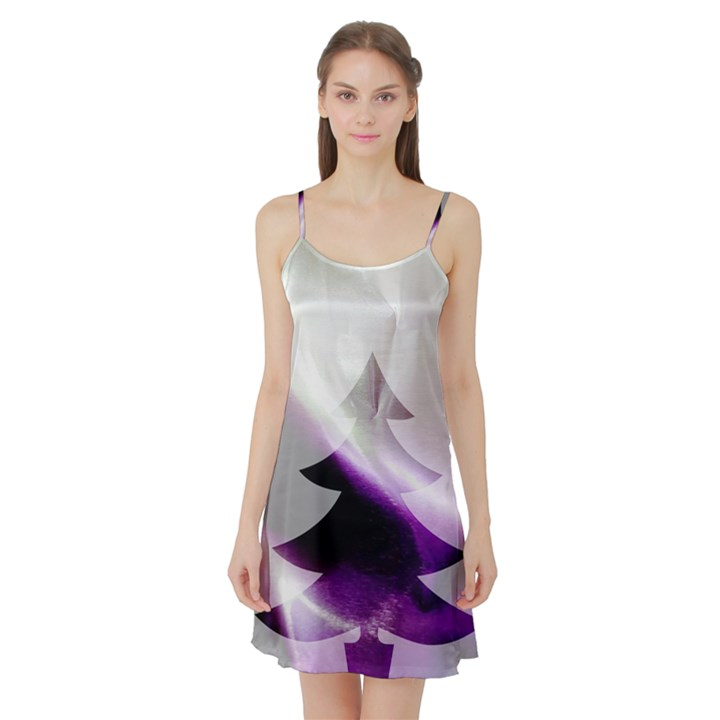 Purple Christmas Tree Satin Night Slip