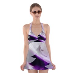 Purple Christmas Tree Halter Swimsuit Dress