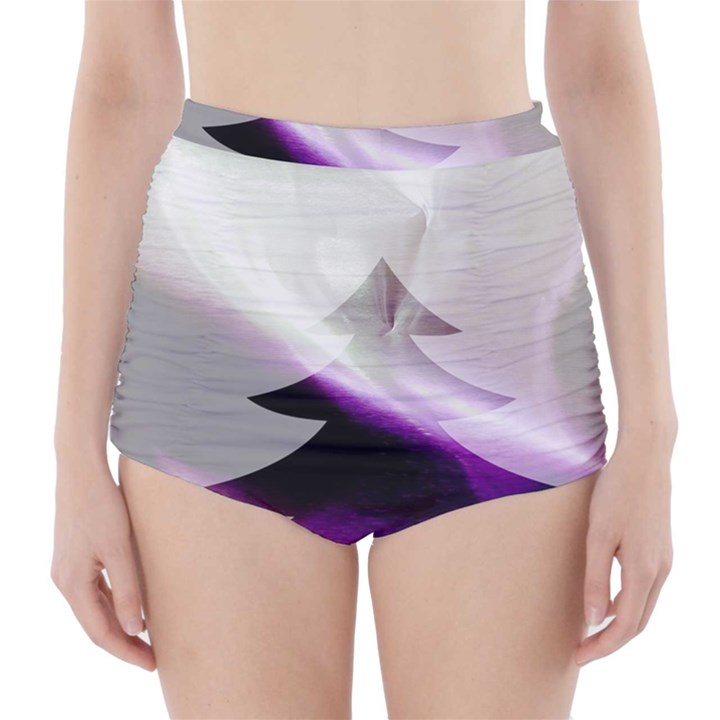 Purple Christmas Tree High-Waisted Bikini Bottoms