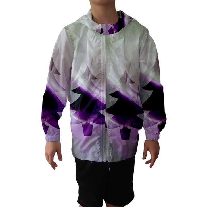 Purple Christmas Tree Hooded Wind Breaker (Kids)
