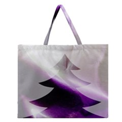 Purple Christmas Tree Zipper Large Tote Bag