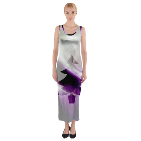 Purple Christmas Tree Fitted Maxi Dress