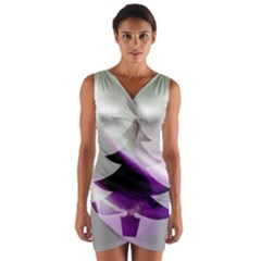 Purple Christmas Tree Wrap Front Bodycon Dress