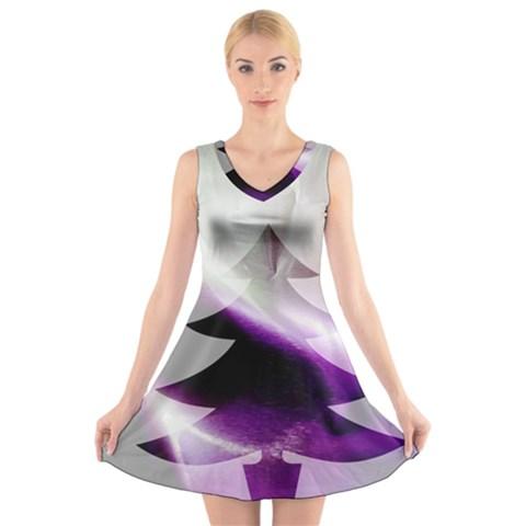 Purple Christmas Tree V-Neck Sleeveless Skater Dress