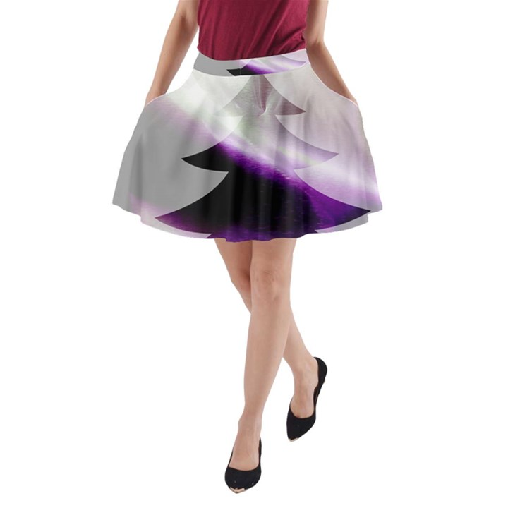 Purple Christmas Tree A-Line Pocket Skirt