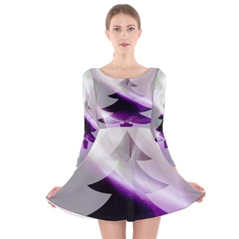 Purple Christmas Tree Long Sleeve Velvet Skater Dress