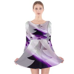 Purple Christmas Tree Long Sleeve Velvet Skater Dress