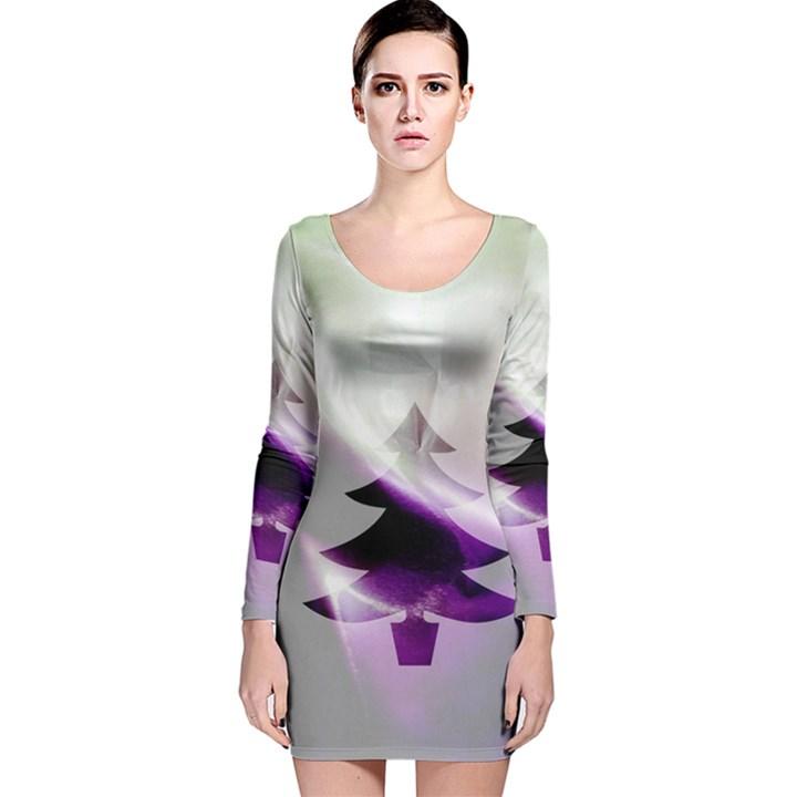Purple Christmas Tree Long Sleeve Velvet Bodycon Dress